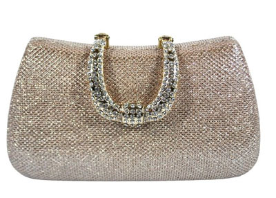 Chicastic-Rhinestone-Studded-Horseshoe-Clasp-Mesh-Hard-Box-Evening-Clutch-Bag-Rose-Gold